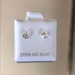 Swarovski sterling silver round-cut stud earrings